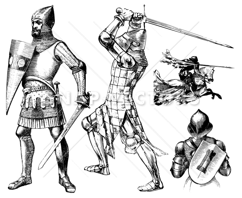 Vector Medieval Knight Clipart Set