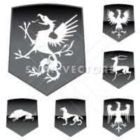 Vector Medieval Shields with Animals