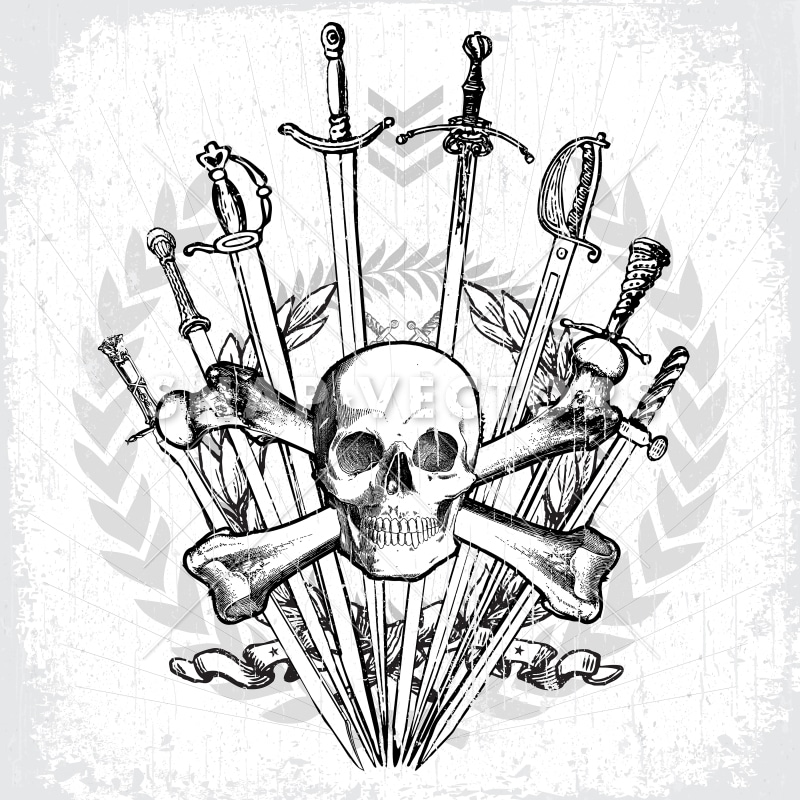 Vector Skull and Crossbones Logo with Swords - Snap Vectors