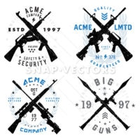 Vector Gun Badges Set