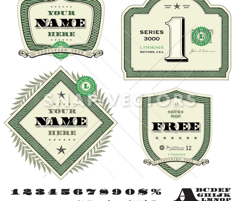 Vector Retro Money Crest Set