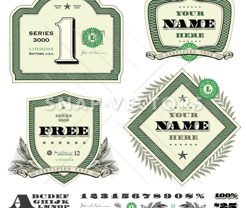Vector Retro Money Logo Frame Set