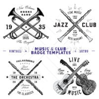 Vector Music and Club Badge Template Set