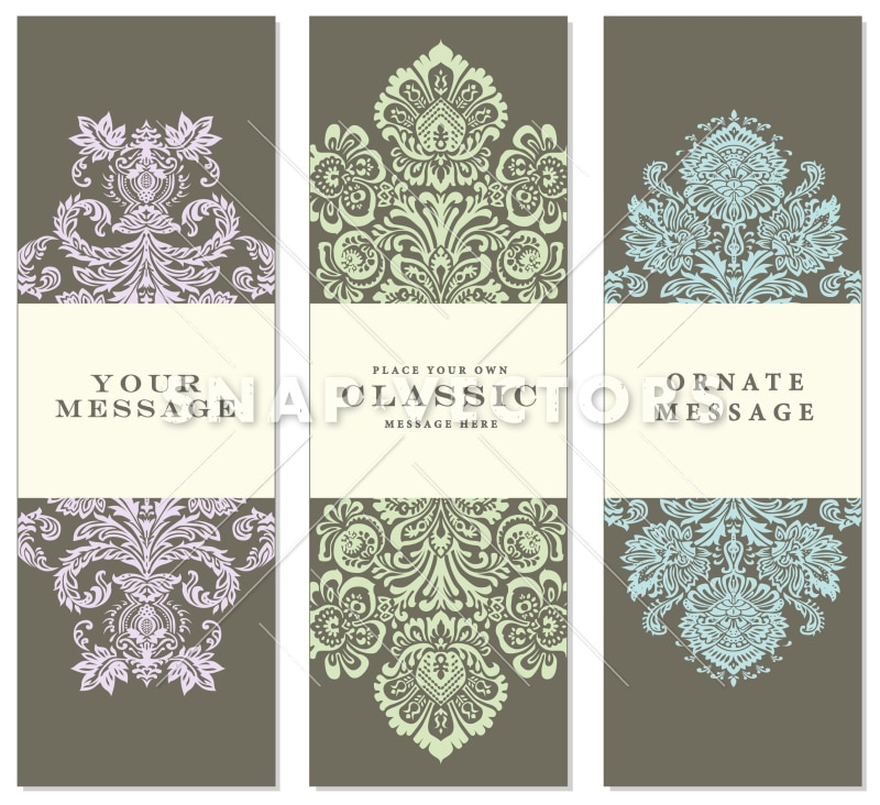 Vector Tall and Pastel Ornate Frame Set