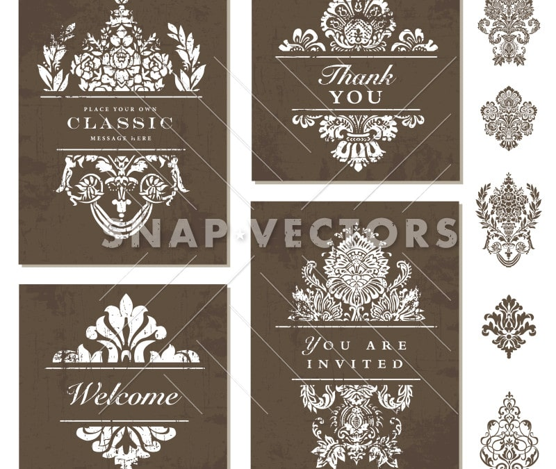 Vector Brown Wedding Stationary Template and Set