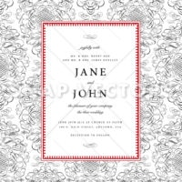Vector Wedding Invite with Seamless Ornament Pattern