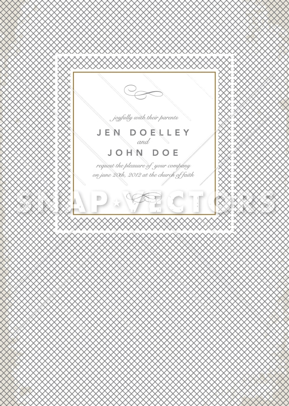 Vector Wedding Invite with Grid and Distress