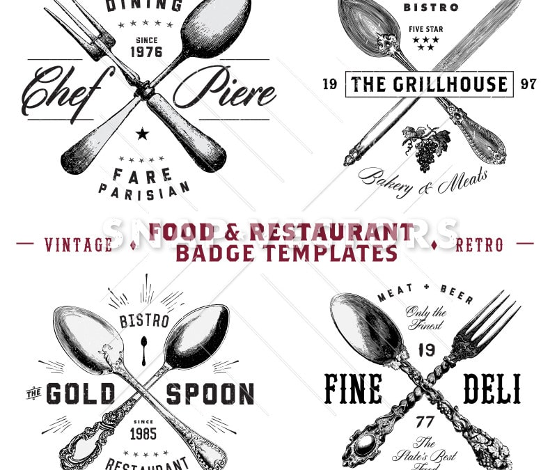 Vector Food and Restaurant Badges and Hipster Logo Template Set