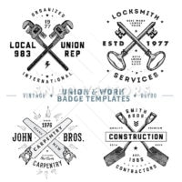 Vector Retro Union Badge Template Set