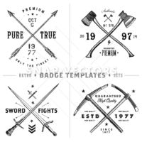 Retro Cross Badge Template Set. All pieces are seperated and easy to edit, including distressed overlay.