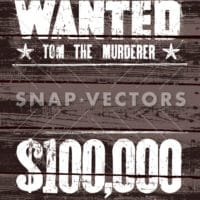 Vector Wanted Poster on Wood Background