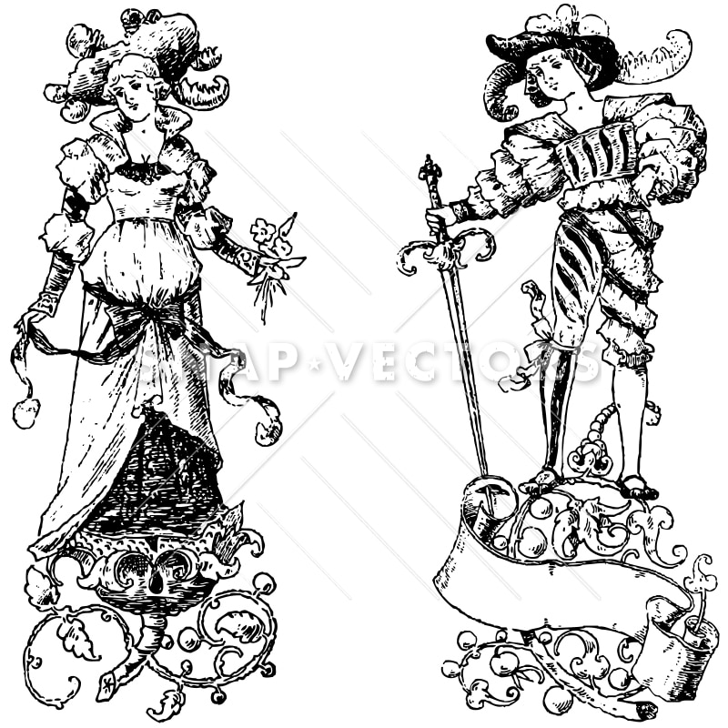 Vector Clipart Victorian Vintage Princess and Prince