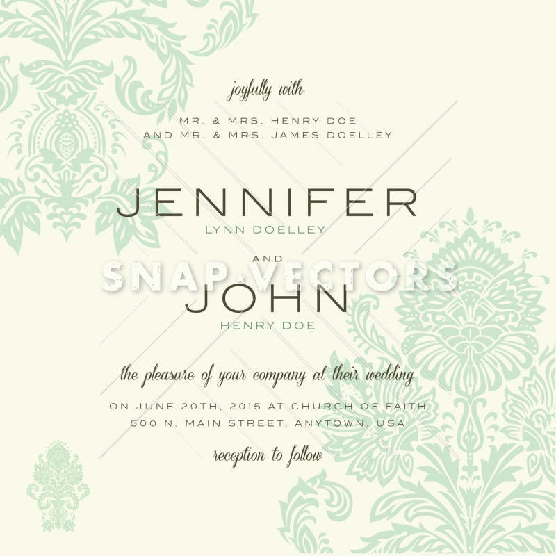 Vector Vintage Wedding Invitation Template - Snap Vectors