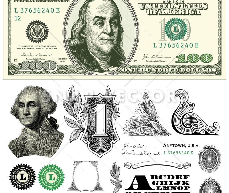 Vector 100 Dollar Bill Template