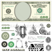 Vector $100 Dollar Bill Template Set