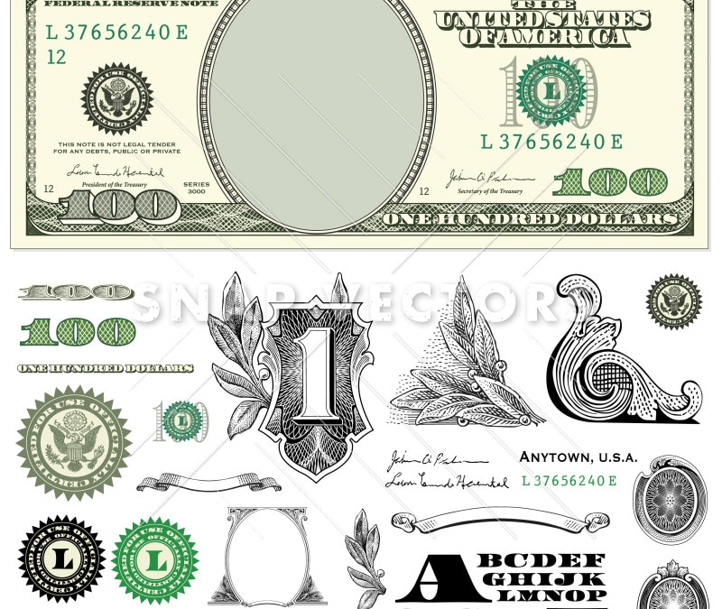 Vector 100 Dollar Bill Template Set