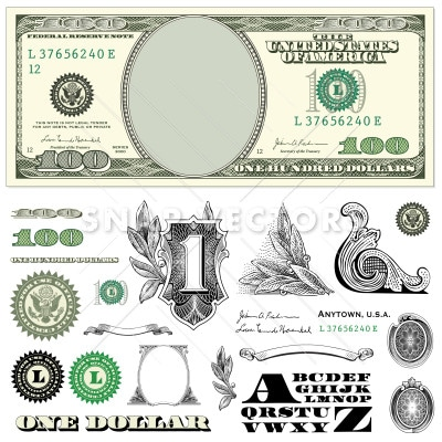 vector 100 dollar bill template set snap vectors