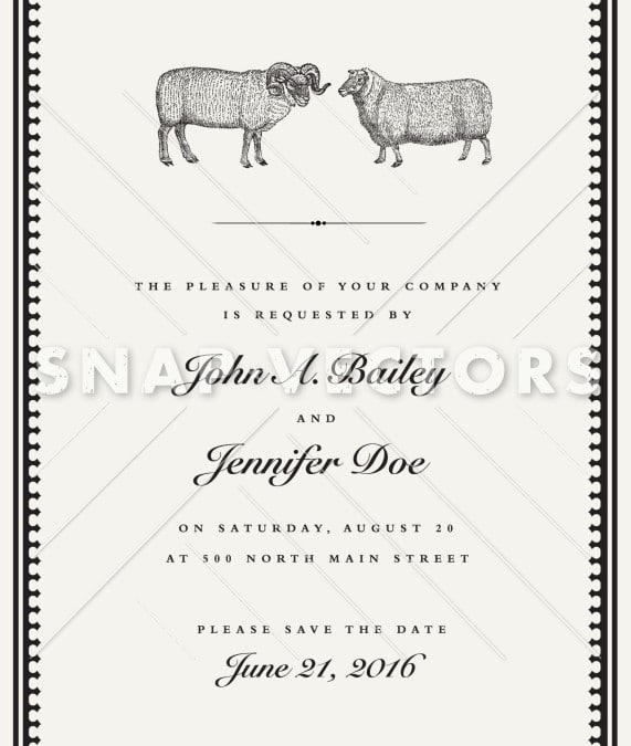 Vector Sheep and Ram Vintage Wedding Invite Template