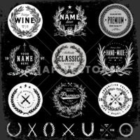 Vector Black Badge Logo Template Set