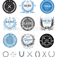 Vector Vintage Label Set