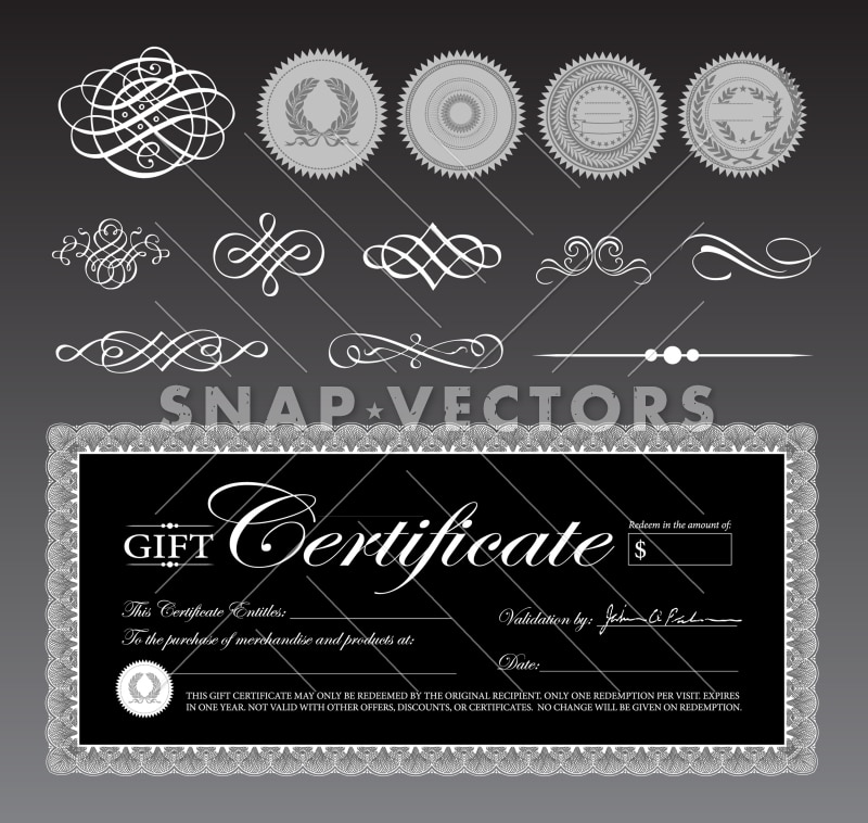 Vector Black Gift Certificate Template and Ornaments