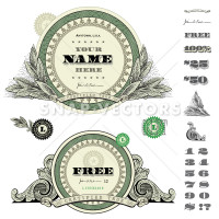 Vector Round Money Frame Set