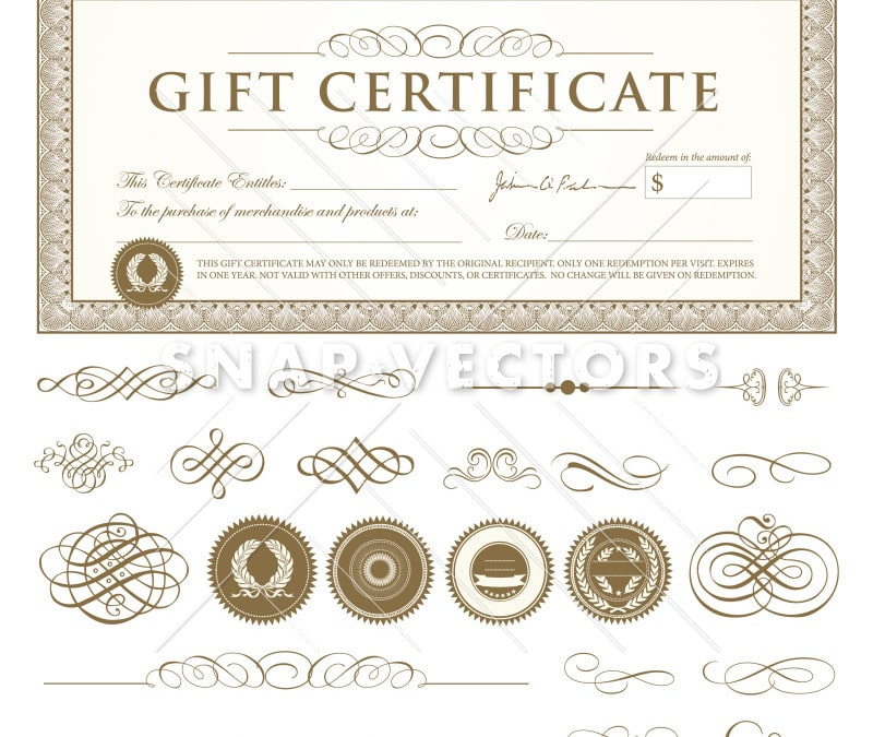 Vector Gift Certificate Template Set