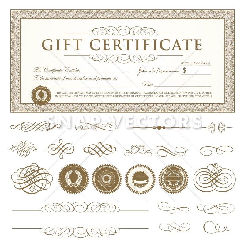 Vector Gift Certificate Template Set Snap Vectors