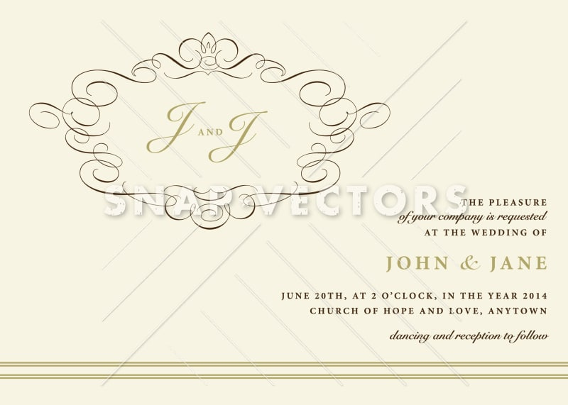 Vector Wedding Invitation with Ornaments