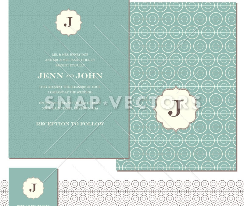 Vector Wedding Stationary and Invitation Set
