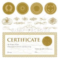 Vector Certificate Set with Gold Seals and Ornaments