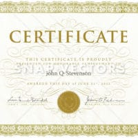 Vector Ornate Gold Certificate and Diploma Template