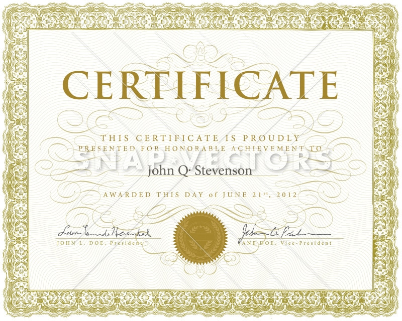 Vector Ornate Gold Certificate and Diploma Template  Snap