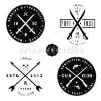 Vector Gun and Sword Logo and Badge Set