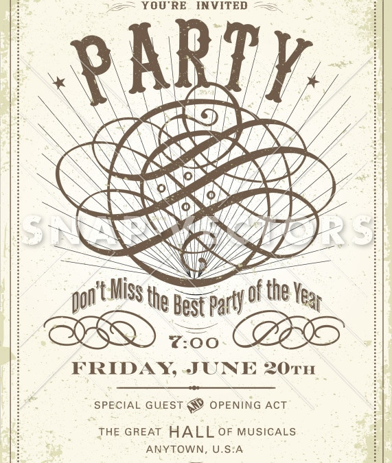 Vector Vintage Party Invitation and Poster Template