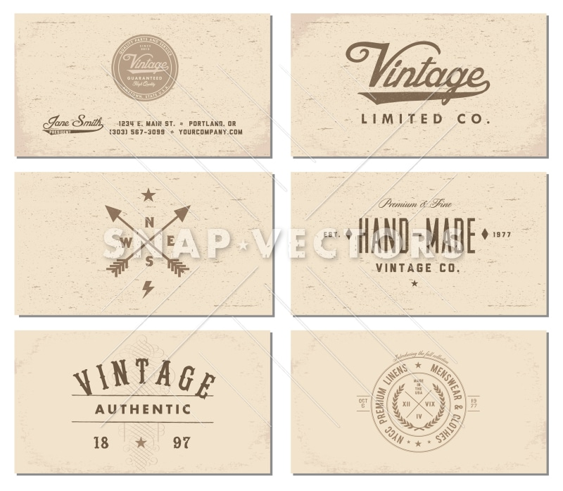 Vector Vintage Business Card Template Set - Snap Vectors