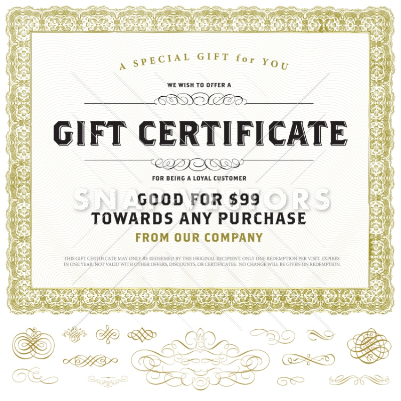 Vector Vintage Gift Certificate Template with Gold Ornaments