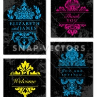 Vector Clipart Ornaments and Wedding Frames on Distressed Backgrounds