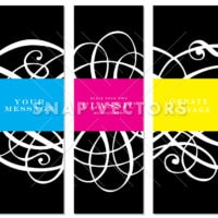 Vector Tall Frames with Swirl Ornaments