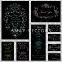 Vector Retro Victorian Wedding Invite and Stationary Set with Neon