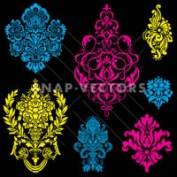 Vector Neon Ornament Set