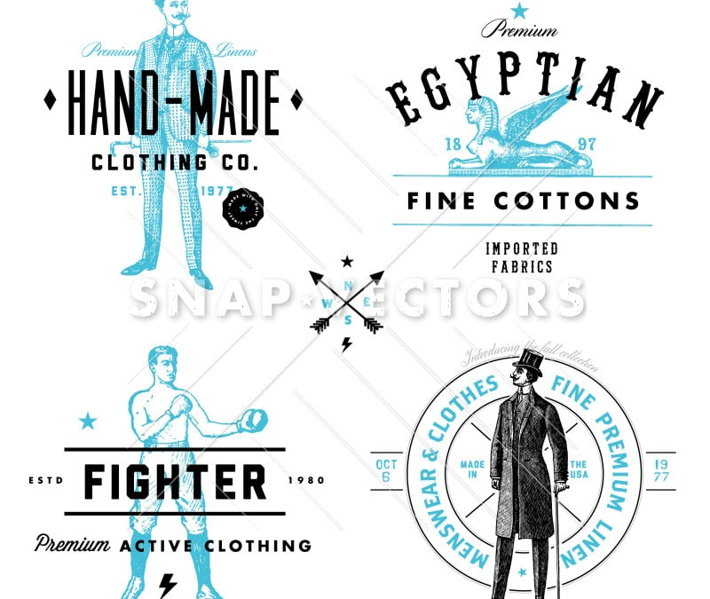 Vector Clothing Label and Vintage Logo Template Set