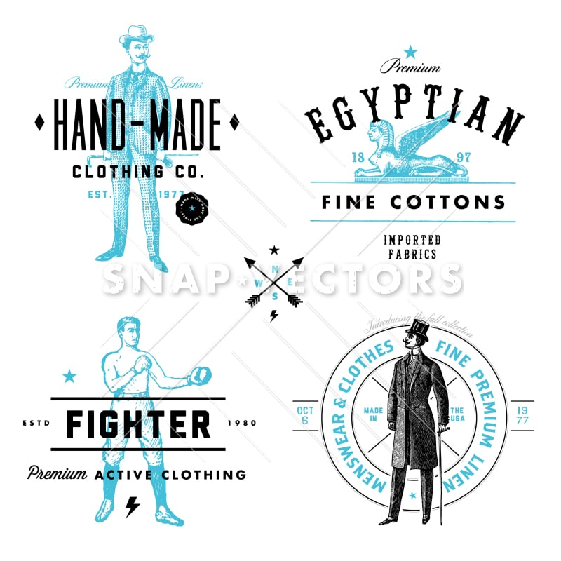 vector clothing label and vintage logo template set snap vectors. Black Bedroom Furniture Sets. Home Design Ideas