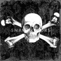 Vector Clipart Skull and Crossbones on Grunge Background