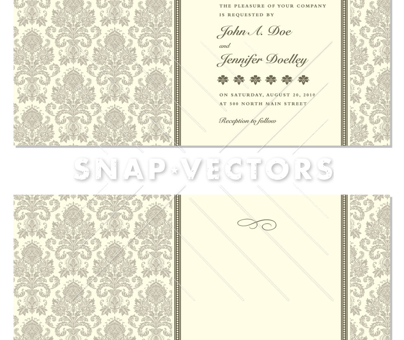 Vector Damask Pattern and Pastel Wedding Frame