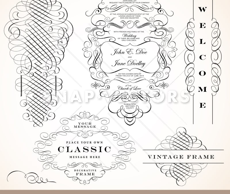 Vector Clipart Fancy Ornaments and Wedding Frame Set