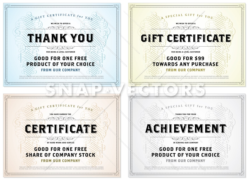 Vector Vintage Gift Certificate Template Set