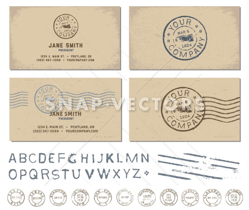 Vector Retro Stamp Business Card Template