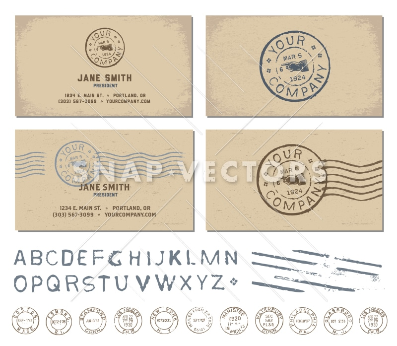Vector Retro Stamp Business Card Template - Snap Vectors