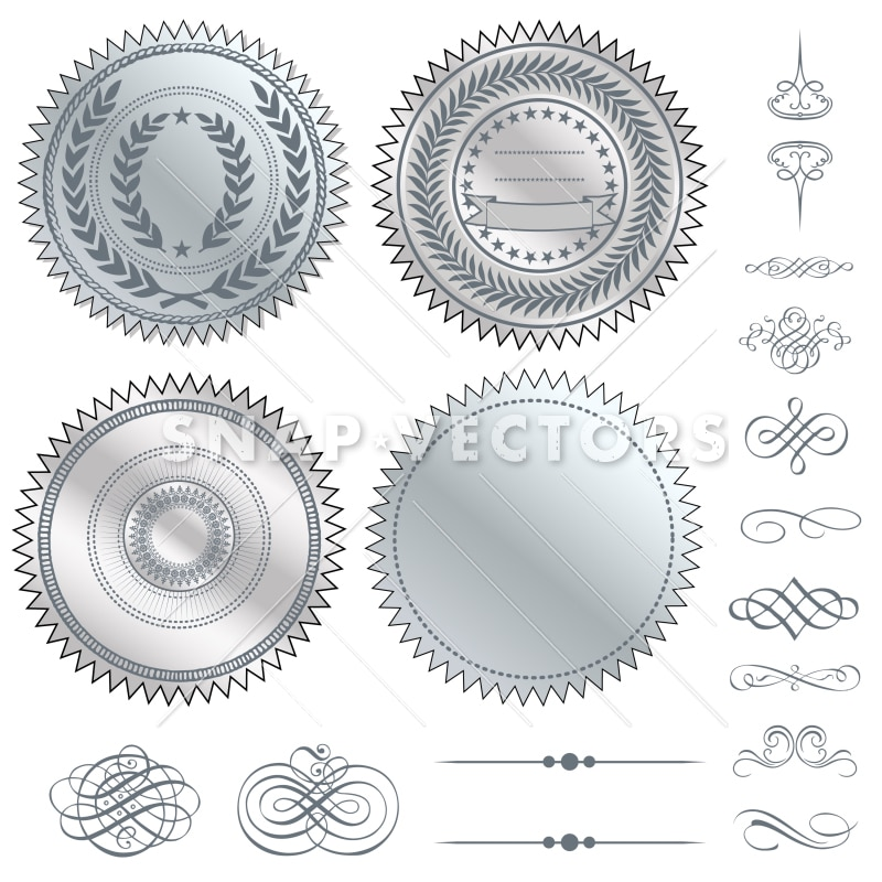 Vector Clipart Silver Seal Set